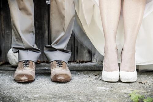 Schoenen van een bruidspaar