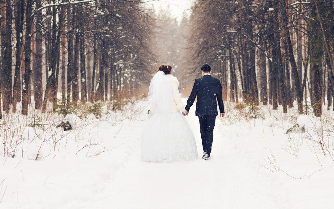winterbruiloft bruidspaar
